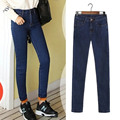 Женщина Джинсы плюс Размер Повседневная высокой Талией женщины джинсы узкие женский Джинсовые Брюки Черный Синий брюки для женщин плюс размер MZ940