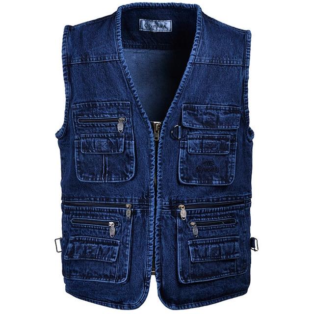 2016 new  5XL Denim Vest Male Plus Size Vest Jeans Men Multi Pocket Photography Vest Mens Denim Vest Sleeveless Jacket Colete