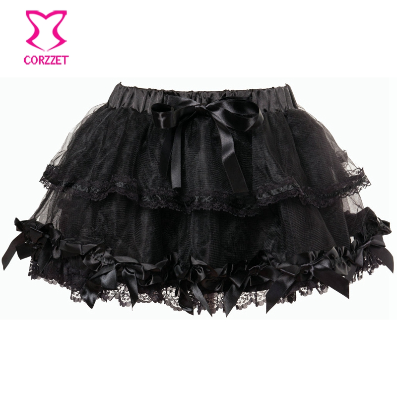 Black Satin Bows Ball Gown Mini Skirt Sexy Gothic Lolita Tulle Skirts Party Club Wear Burlesque Pleated Tutu Shirts Women Adult