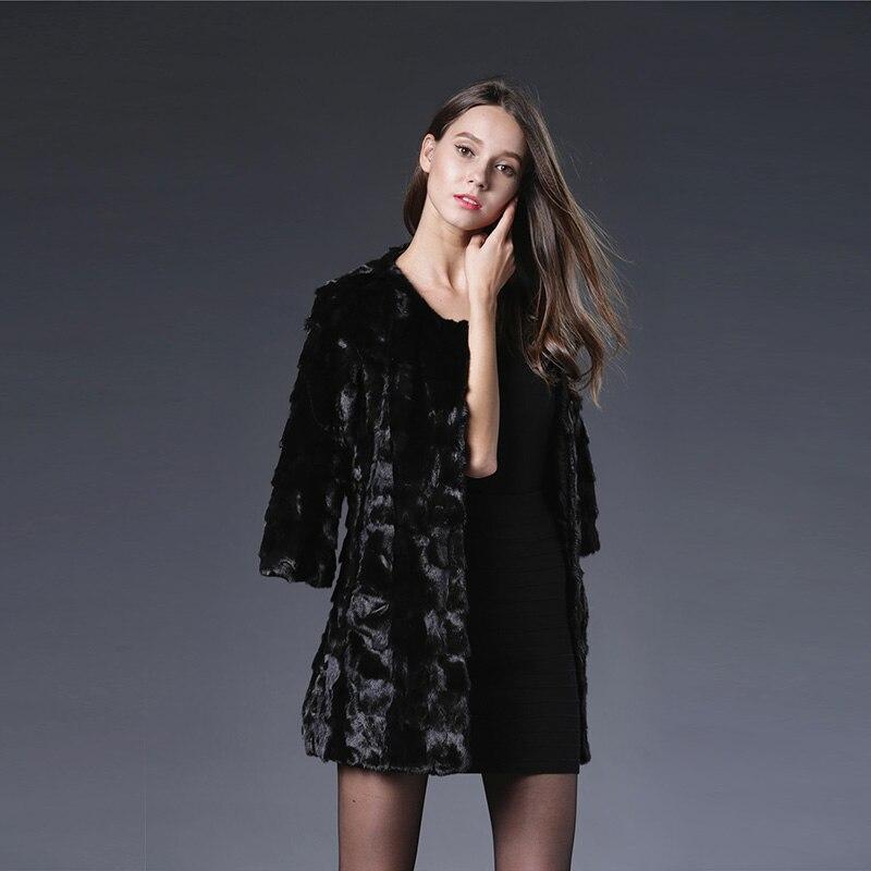 2017 Special Offer Solid Slim Vest New Genuine Mink Fur Coat Shawl Jacket Women Long Luxury Winter Three Quarter Sleevethick