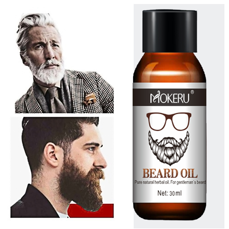Mokeru 100% Natural Organic Men Beard Growth Oil Products Hair Loss Treatment Conditioner For Groomed Fast Beard Growth 30ml 2