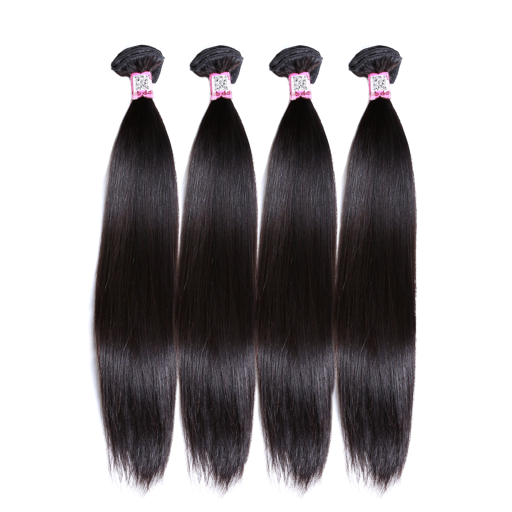 Hair Weave-Extensions Deals 4-Bundles 100%Human-Hair Brazilian Non-Remy-Hair Straight