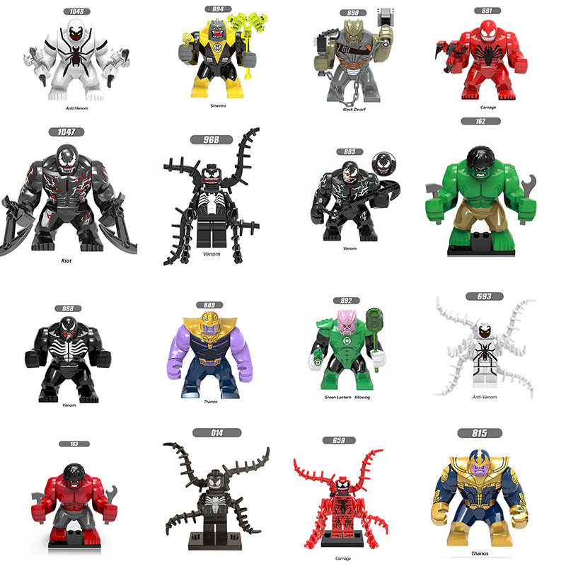 Single Sale LegoINGlys Super Heroes  Big Size Green Lantern Kilowog Venom Thanos RIOT Carnage Figures Blocks Toys Children Gift