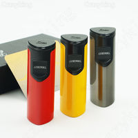 New Arrival JiFeng High End Metal Laser Touch Induction 3 Torch Jet Flame Cigar Lighter Butane