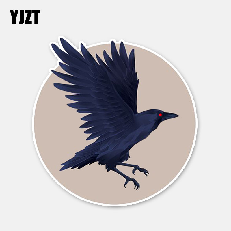 YJZT 13.9*14.4CM Lovely Raven Decals Car Sticker Decor Personalized Graphic Bumper Car Window 11A0383