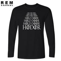HODOR Game Of Thrones Funny Streetwear Hiphop Clothing Men 2016 Fashion Long Sleeve T Shirt Casual