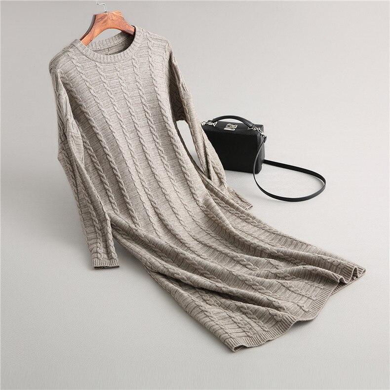 2019 mode tenue décontractée femmes hiver surdimensionné pull à manches longues col rond solide femme tricoté épais robe pull Vestidos - 2