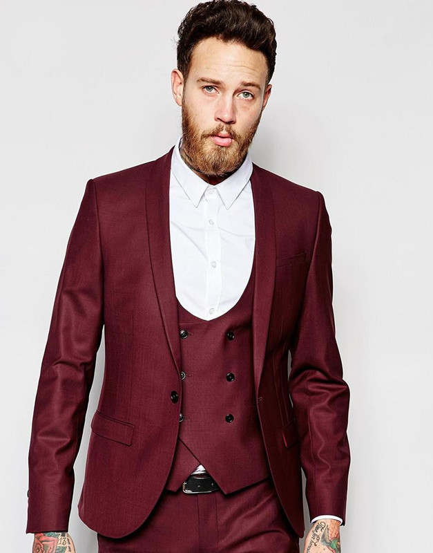 Classic Design Dark Red Mens Dinner Party Prom Suits Groom Tuxedos Groomsmen Wedding Blazer Suits K:2192 A Great Variety Of Goods jacket+pants+vest