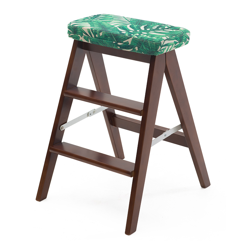 Us 129 0 Modern Foldable Wooden Ladder Stool Bench 3 Step Chair Kitchen Furniture Small Footstool With Seat Cushion Household In