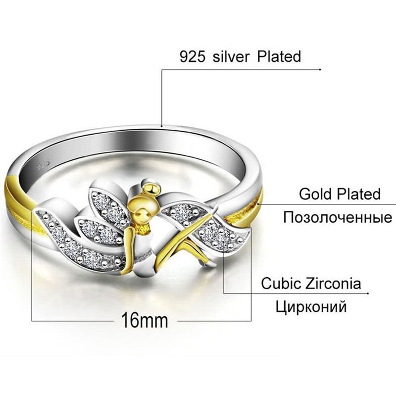 GS Austria Crystal Angel Wings Ring For Women Gold Color Bride Romantic Wedding Band Forever Lover Promise Ring Size 6 To 10 R4
