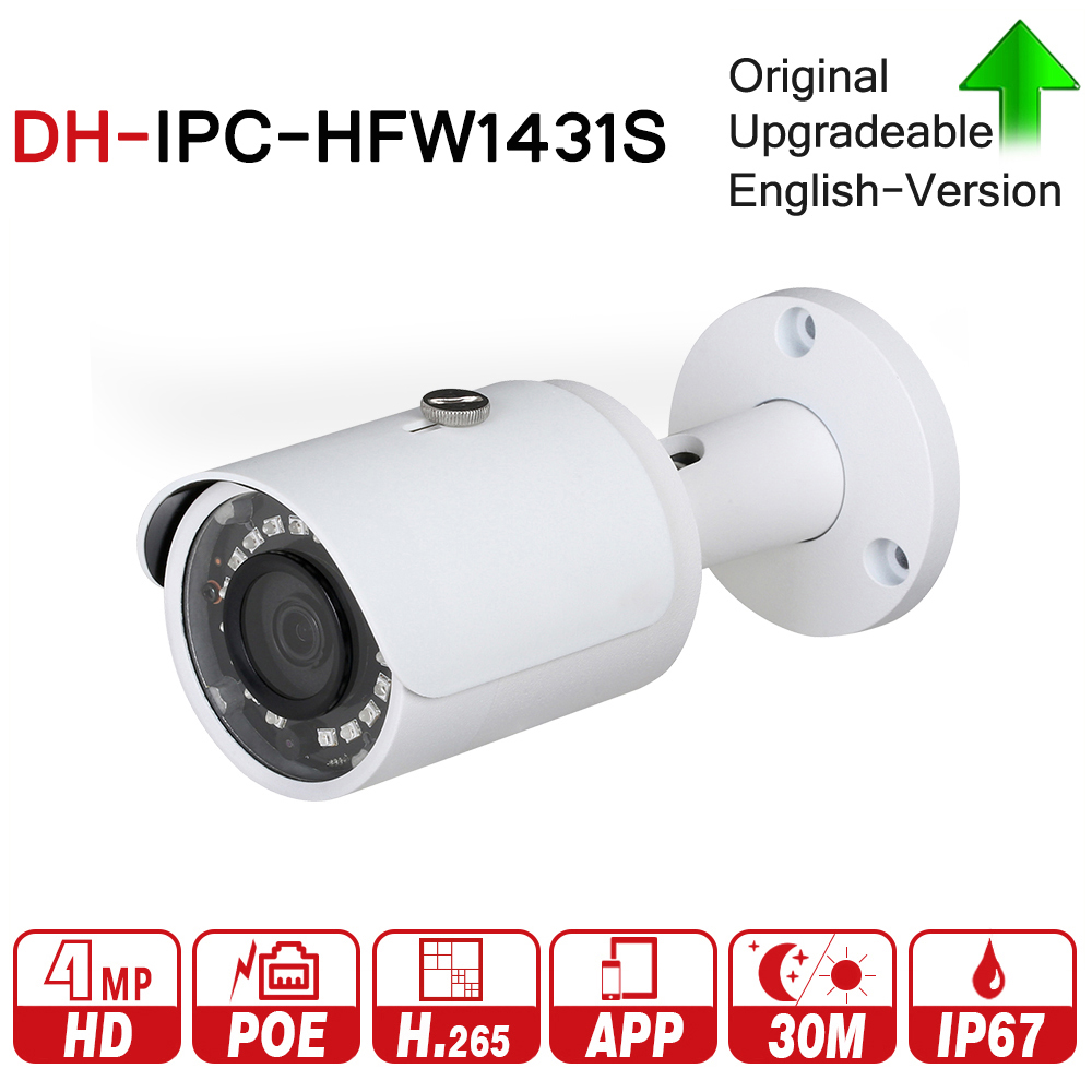 DH IPC-HFW1431S with logo original 4MP WDR IR Mini-Bullet Network IP Camera CCTV H.265 30m IR IP67 PoE Original English Vision dahua english vewrsion 4mp wdr network vandalproof bullet ip camera with fixed lens ip67 ipc hfw4421e 3 6mm lens