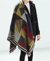 ZA Brand New 2017 Winter Fashion Woman Scarf Cashmere Scarf Shawl Geometric PatternFree Shipping