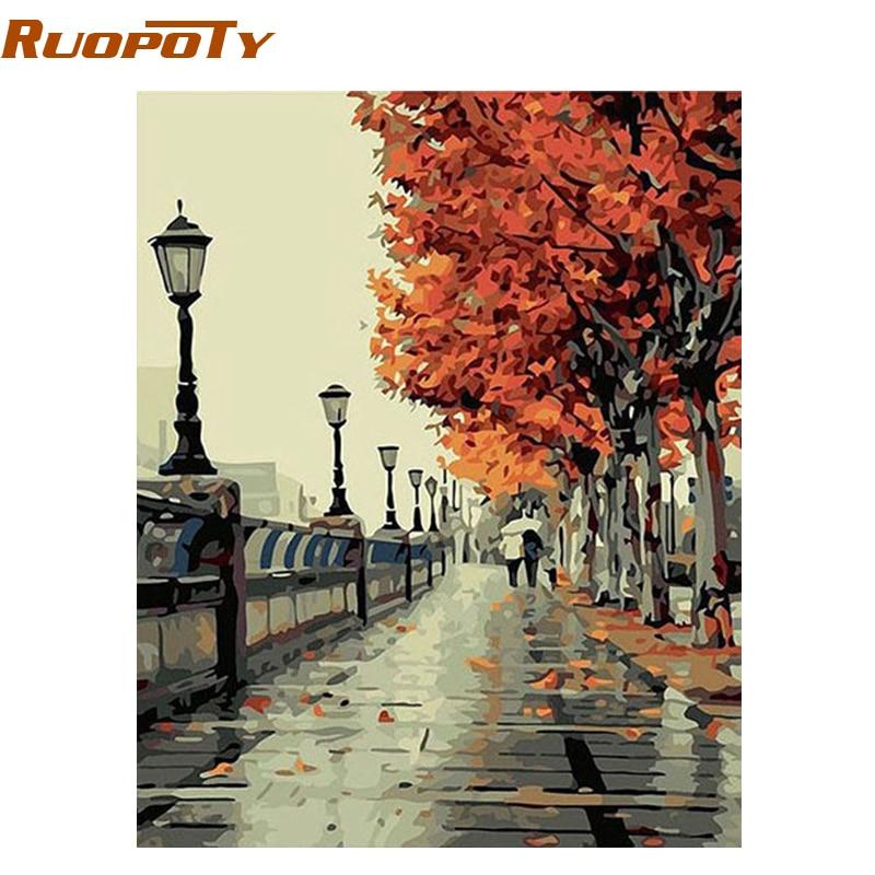 RUOPOTY marco otoño calle paisaje DIY pintura por Numebrs Kit pintura al óleo pintada a mano regalo único para sala de estar 40X50 cm