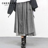 Cheerart Cotton Linen Ethnic Long Skirt Womens Grey Irregular Midi Skirt Loose Elastic Waist Summer Skirt