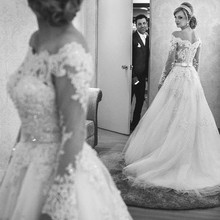 kissbridal Wedding Dress A-line Long Sleeve Bride Dresses