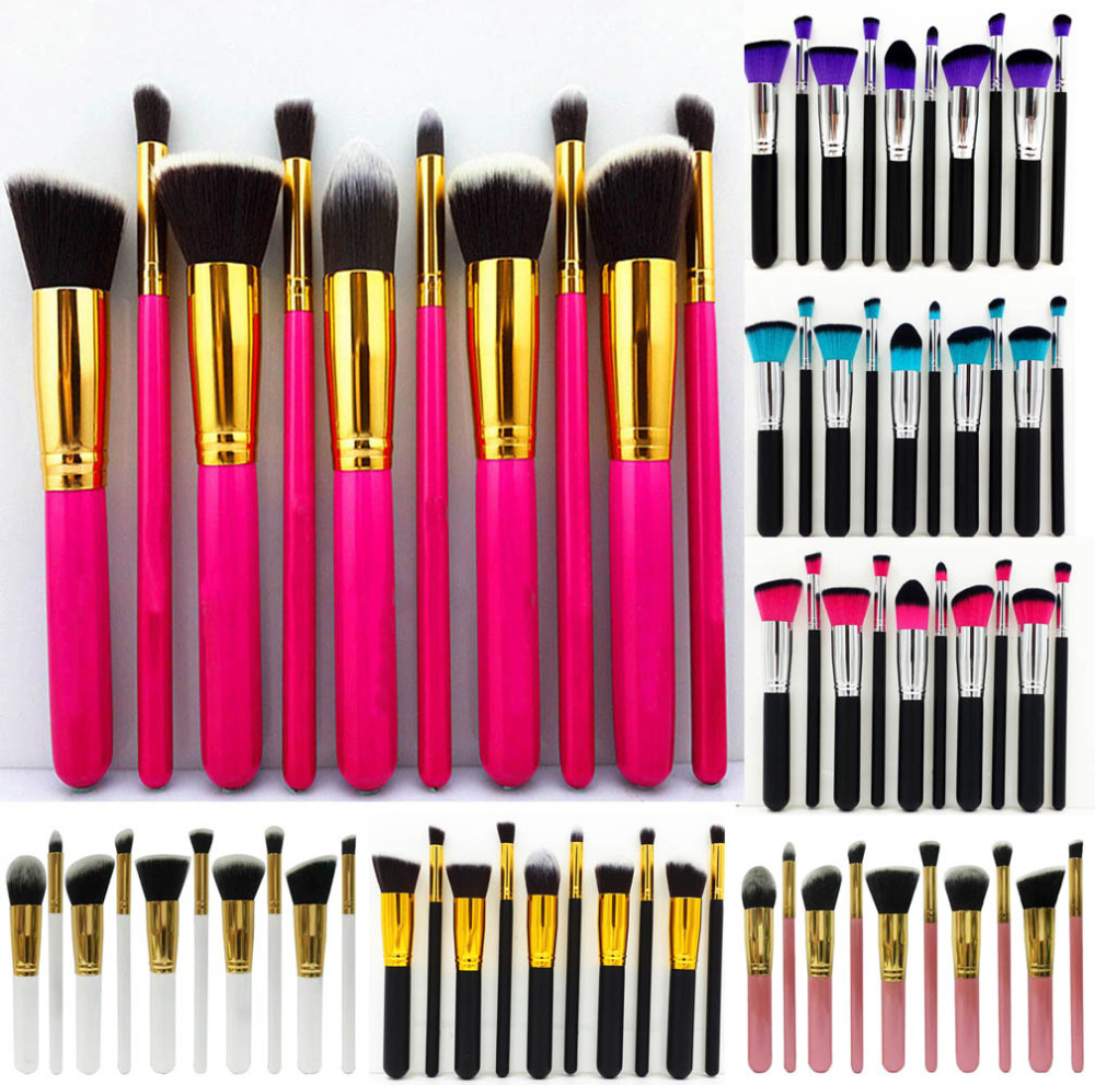 10Pcs Women Makeup Brushes Set Professional Eyebrow Eyeshadow Powder Foundation Brush Cosmetic Make Up Tools Toiletry Kit Gift new lcbox professional 16 pcs makeup brush set kit pouch bag cosmetic brush kit cosmetic powder foundation eyeshadow brush tools
