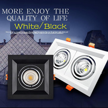 1pcs COB 10w 15w Dimmable black-square rotating Indoor Lighting Warm / whiteLedsurface mounted 110/220V  Ceiling led downlight