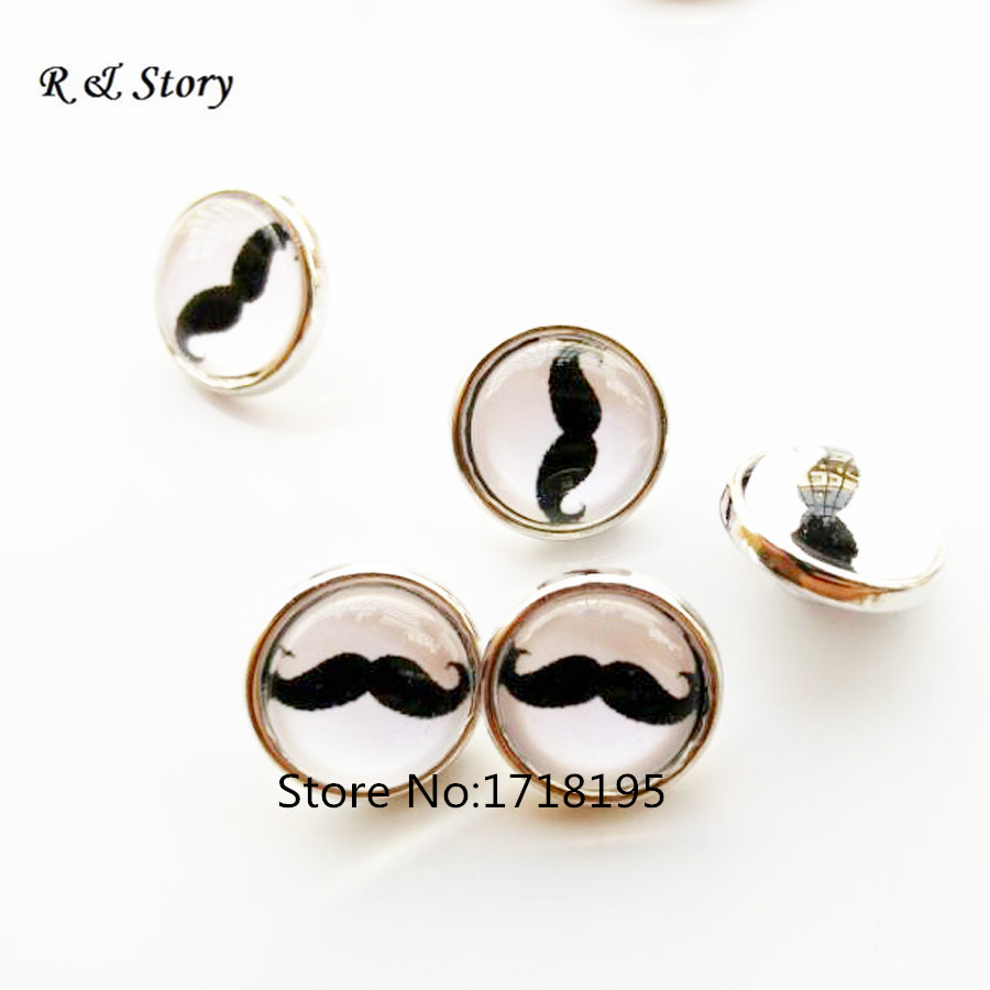 12mm Beard glass cabochon snap buttons for DIY snap bracelets snap necklaces jewelry Simple Charming wholesale SB_271 image