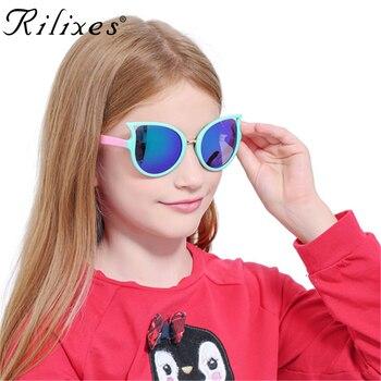 RILIXES Cat Eye Fashion Brand Kids Sunglasses Children's sunglasses Anti-uv Baby Sun-shading Eyeglasses Girl Boy glasses