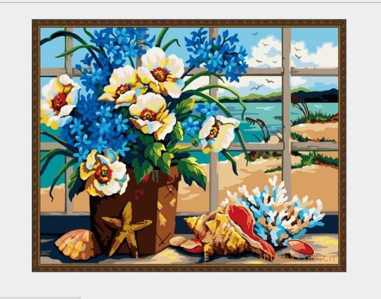 Cuadro sin marco Ventana Flores Escena Pintura de DIY Por Los Kits ...