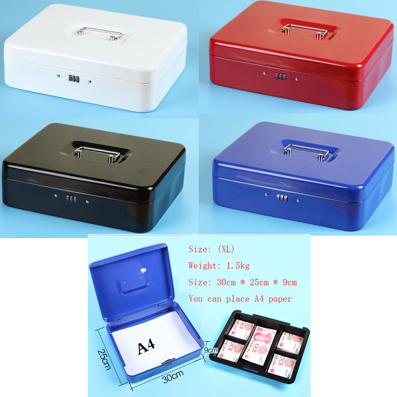 New 2019 Password Lock Metal Portable Jewelry & Watch Accessories Safety Box Compartment Tray Password Lock Security Box XL