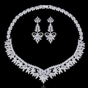 Модный роскошный ювелирный набор из стерлингового серебра 925 пробы для свадьбы, серьги-гвоздики, ожерелье, подвеска, женские африканские юв...