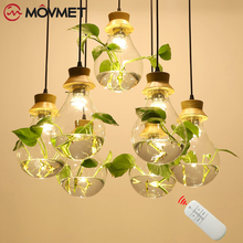 цены Pendant Light Ring Green Plant Hanging Lamp Retro Industrial Wind Creative Personality Clothing Shop Cafe Restaurant