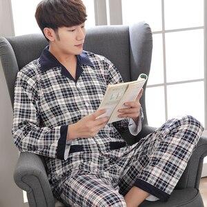 Image 2 - Yuzhenli, осенние пижамы для мужчин, с принтом, на каждый день, размера плюс, хлопковая одежда для сна, Мужская одежда для отдыха, домашняя одежда, зимняя Пижама, плюс XXXL