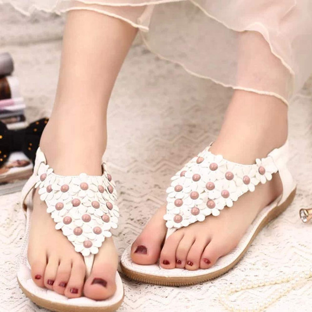 86bf51f8f4f15 2017 Summer Women s Fashion Sweet Summer Bohemia Sweet Beaded Sandals Clip  Toe Sandals Beach Shoes Herringbone Sandals Shoes