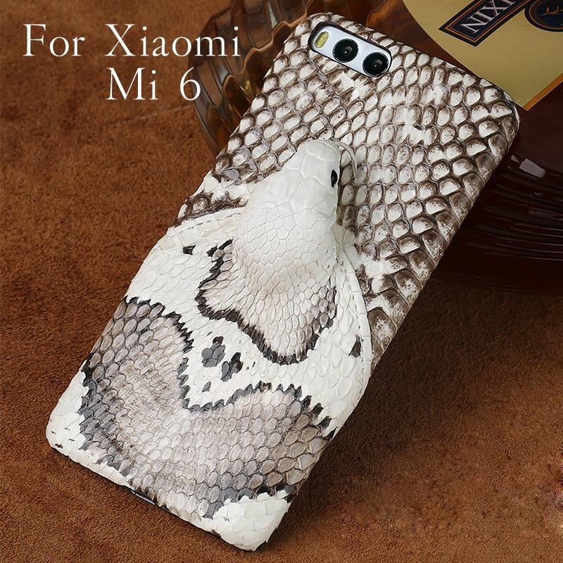 Marque en peau de serpent véritable étui de téléphone pour xiaomi mi 6 téléphone couverture arrière étui de protection en cuir étui de téléphone pour xiaomi mi mi X 2 s