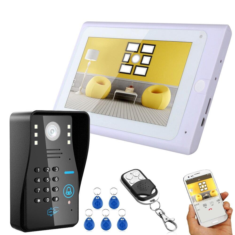 Wired /Wireless Wifi IP Video Door Phone Doorbell Kit Video Intercom System 7