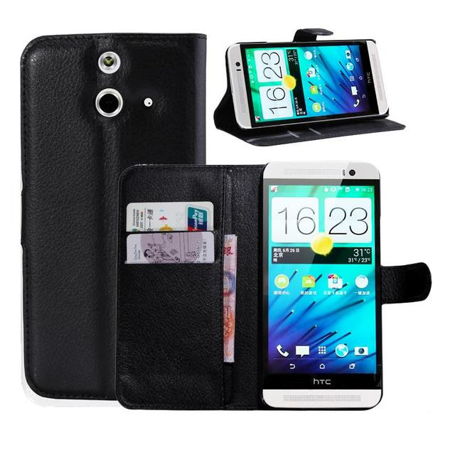 for HTC One E8 Case M8St M8 Ace Wallet Card Stent Cases Lichee Pattern Flip Leather Case Protect Cover black Case for HTC One E8