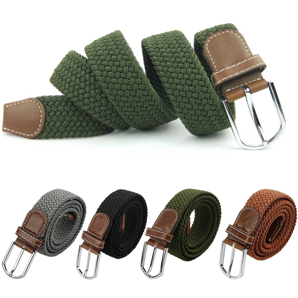 Mens Woven Stretch Braided Elastic Leather Buckle Belt Unisex Waistband Belts Army Green/Black/Gray/Brown