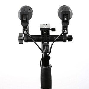 Image 5 - רציף אור סטודיו פלאש אביזרי LH 02 AC Slave אור כפול E27 שקע עם מטרייה מחזיק Softbox אור Stand הר