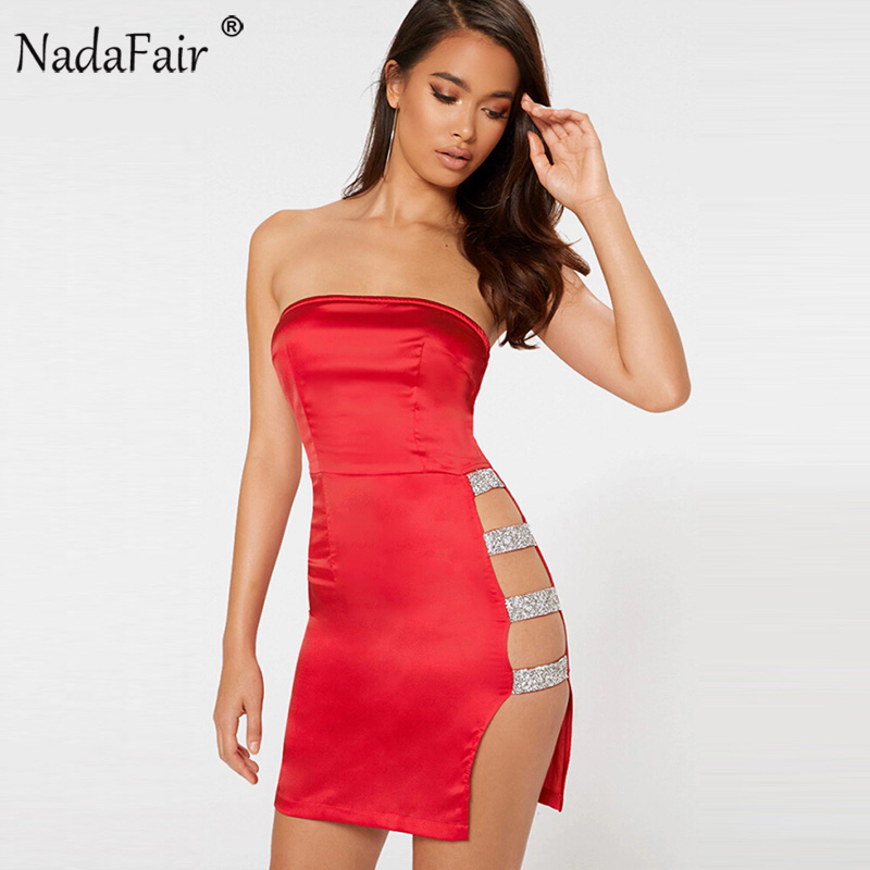 Nadafair Off Shoulder High Split Satin Tube Dress Women Strapless Sexy Club Party Dresses Red Black