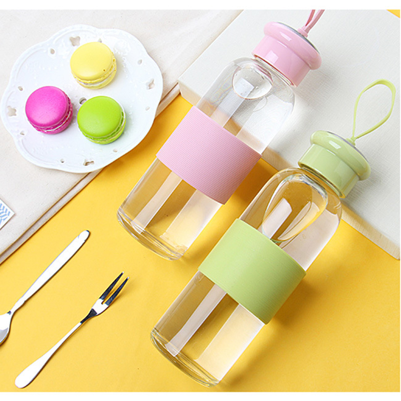 320ML/420ML Portable Sports Glass Water Bottle Leak Proof Tea Coffee Tumbler with Anti-hot Silicone Circle & Thicken Bottom