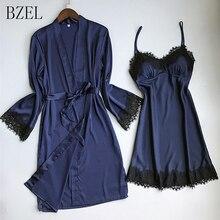 BZEL New Women Sexy Lace Silk Robe & Gown Set Sleep Dress+Bathrobe
