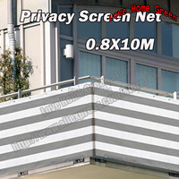 0.8X10m Striped Gray/white privacy screen net awning fence for Deck Patio Balcony Porch