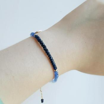 Blue Sapphire Bracelet with Gold Plated 925 Silver Leaf 4