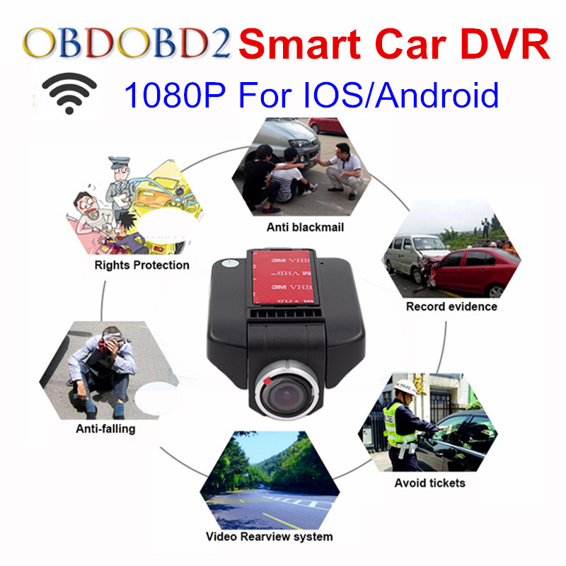 Car DVR DVRs Registrator Dash Camera Cam Digital Video Recorder Camcorder 1080P Night Version 96658 IMX 322 With WiFi For IOS junsun car dvr camera video recorder wifi app manipulation full hd 1080p novatek 96655 imx 322 dash cam registrator black box