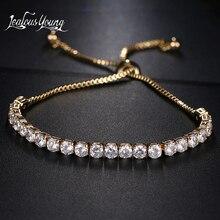 Fashion Round Cubic Zirconia Tennis Adjustable Bracelet Bangle For Women White Gold Color Crystal Bracelets Wedding Jewelry Gift