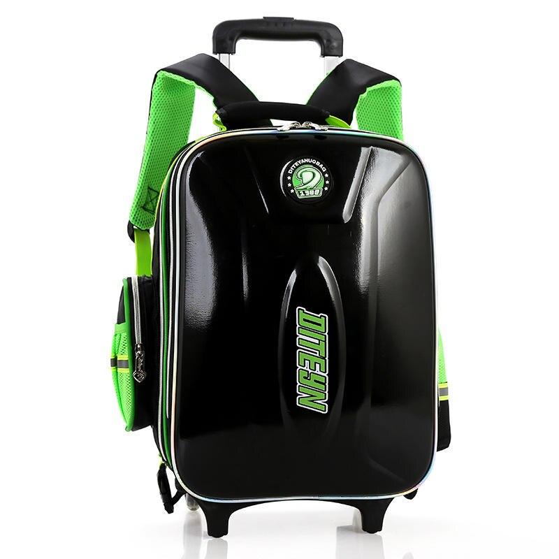 ФОТО Removable Children Waterproof Trolley Backpack Boys 2016 New Style Burden PU Leather Wheeled School Bag Mochila