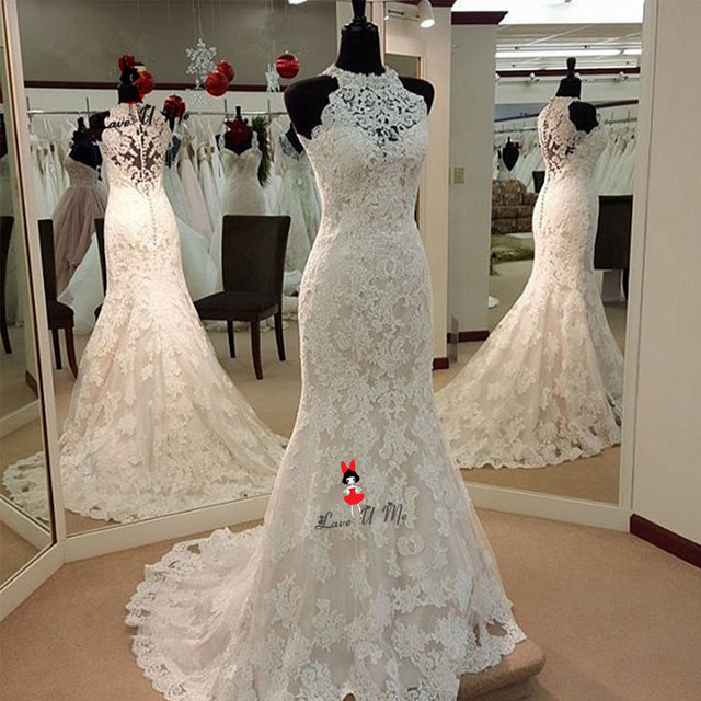 Vestido de Noiva Sereia Hochzeitskleid Renda Lace Wedding Dresses O Neck  Mermaid Bride Dress China Turkey Wedding Gowns Buttons b5ca0c9e308a