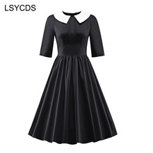 LSYCDS Women Elegant Half Sleeve Peter Pan Collar 1950s Retro A-line Stretchy Knee Length Swing Vintage Dress ED-A248