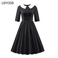 LSYCDS Women Elegant Half Sleeve Peter Pan Collar 1950s Retro A line Stretchy Knee Length Swing Vintage Dress ED A248