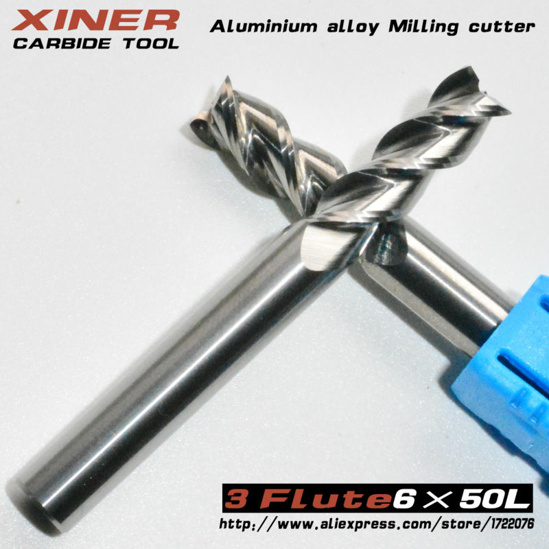 6mm*50L,5pcs,Freeshipping,CNC machine cutter,solid carbide end mill,Aluminium alloy milling cutter,3 flute mill,PVC,Acrylic,wood  цены