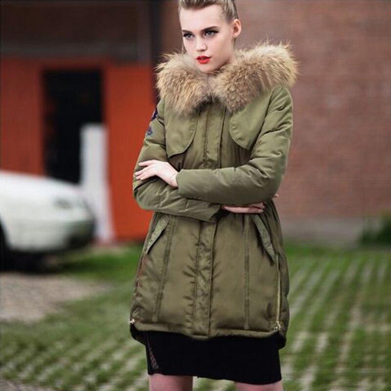 ФОТО Winter Jacket Women 2016 Real Large Raccoon Fur Parka Thickening Long Down jackets Warm For Winter Women Coat