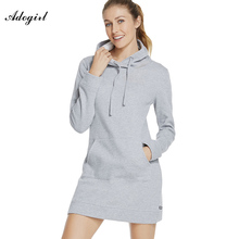 Adogirl Black Gray Long Sleeved Hooded Mini Dress New Slim Fit Pocket Front Casual Sportwear For Women Fitness 2017 Spring Dress