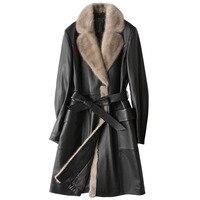 Зимняя куртка женская одежда пуховое пальто из натуральной кожи куртка Для женщин дубленка норка Мех Collor корейские узкие длинное пальто ZT533