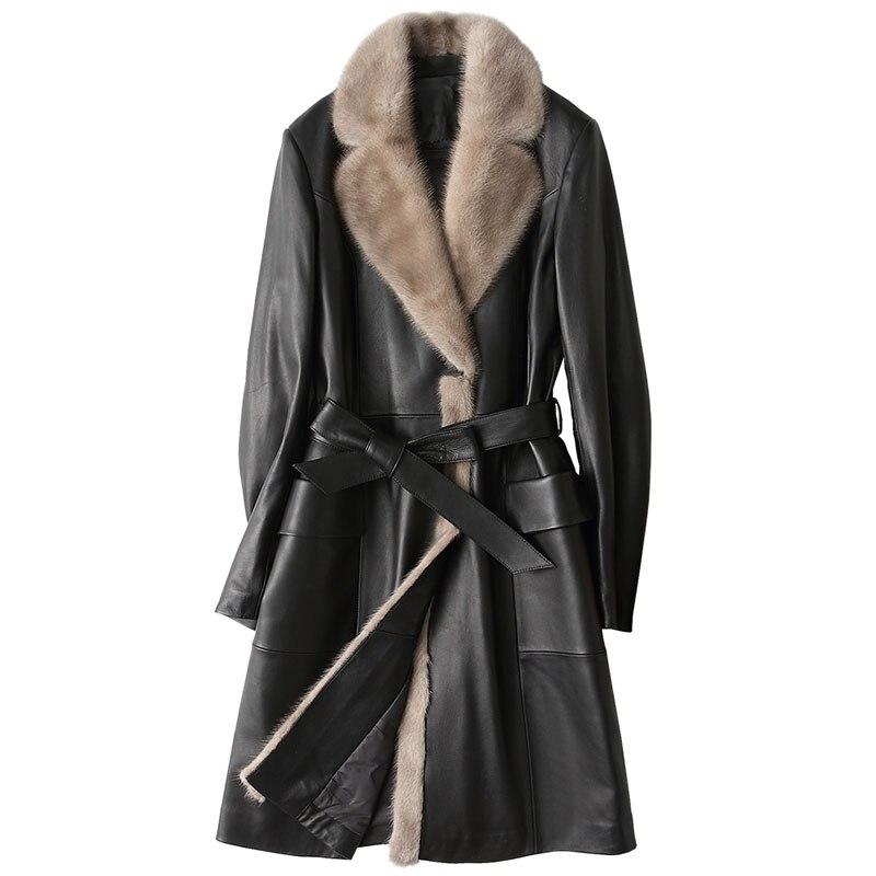 Winter Jacket Women Clothes Down Coat Genuine Leather Jacket Women Sheepskin Coat Mink Fur Collor Korean Slim Long Coat ZT533 Одежда